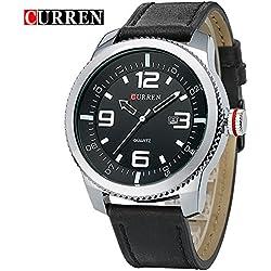 CURREN Men's Quartz Black Learther Strap Businessmen Wrist Watch 8180G