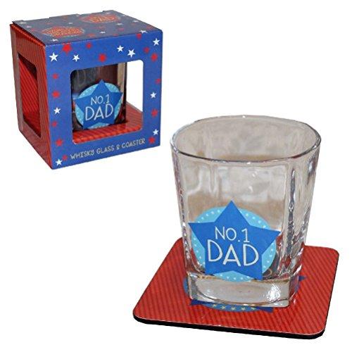 """""""No.1 Dad"""" Whisky-Glas und Untersetzer, Vatertags- oder Geburtstag-Geschenk (Food-styling-tools)"""