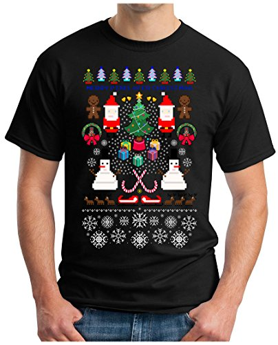 OM3 - PIXEL-CHRISTMAS - T-Shirt RETRO GAME SNOWMAN MERRY XMAS HO HO HO Christmas TREE, S - 5XL Schwarz