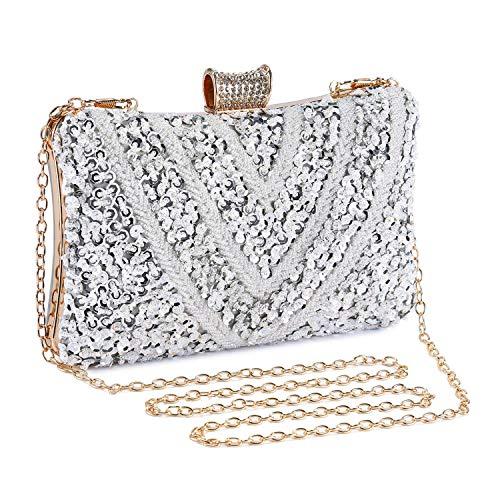 Abendtasche Damen Perle Clutch Bag Kette Shiny Pailletten Handtasche Klein Umhängetasche für Hochzeit Party - Silber -