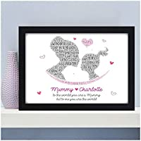 PERSONALISED Mum Mummy and Daughter Son Grandson Granddaughter Christmas Birthday Gifts Her - Birthday Christmas Mothers Day Gifts - A5 A4 Framed Prints or 18mm Wooden Blocks - Mummy Nanny ANY NAME