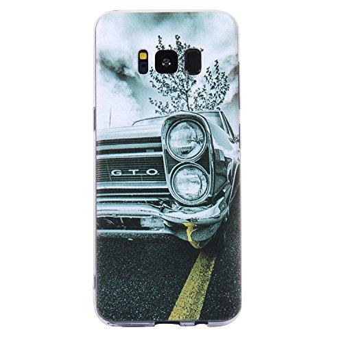Ecoway TPU Funda Funda para Samsung Galaxy S8, Ultra Delgado Carcasa Antideslizante Suave Parachoques Resistente a los arañazos Contraportada Funda de silicona pintado Parachoques Carcasa Funda Bumper - Carro