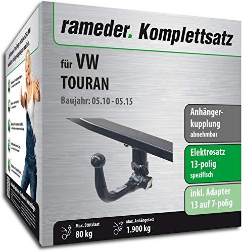 Rameder Komplettsatz, Anhängerkupplung abnehmbar + 13pol Elektrik für VW TOURAN (131188-10449-2)