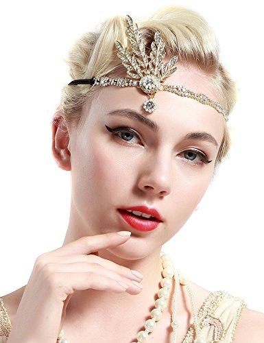 Babeyond® Flapper Great Gatsby Inspiriert Art Deco 1920 Blattmedaillon Perle Kopfschmuck Kopfband runden Goldene - 3