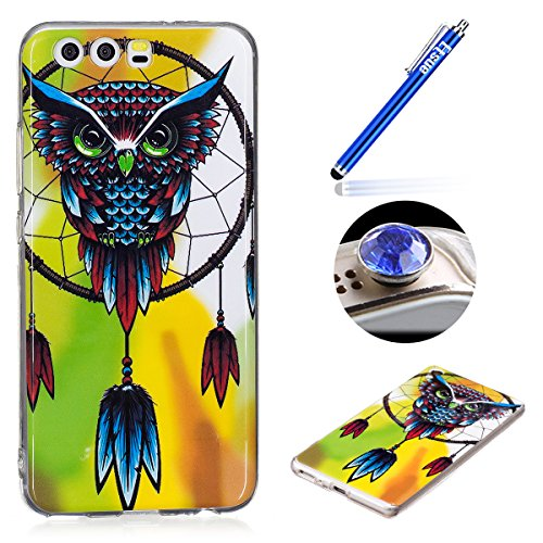 Etsue Huawei P10 Luminous TPU Case,Huawei P10 Clear Case, Night Glow In The Dark Transparent Crystal Frame Soft Silicone TPU Gel Slim Fit Rubber Case Cover With Pretty Cute Colorful Pattern Design for Huawei P10+Blue Stylus Pen+Bling Glitter Diamond Dust Plug(Colors Random)-Night Luminous,Owl