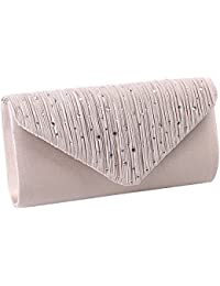 984772efe11 Ladies Rhinestone Envelope Clutch Bag Classic Satin Pleated Clutch Evening  Handbag Purse