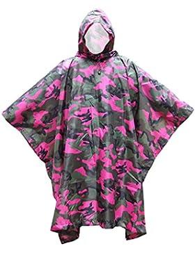 Skysper Chubasquero poncho con capucho para Lluvia Portátil Camouflage impermeable para Caza pesca senderismo...