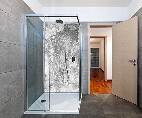duschwand plexiglas wandmotiv24 Duschrückwand Eine alte Mauer in Schwarz und Weiß Duschwand Design 100 x 200cm (B x H) - Plexiglas 3mm, Fugen