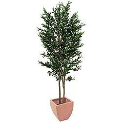 artplants - Künstlicher Olivenbaum mit 4740 Blättern, 445 Oliven, 2 Naturstämme, 250 cm - Baum mit Oliven / Kunstbaum