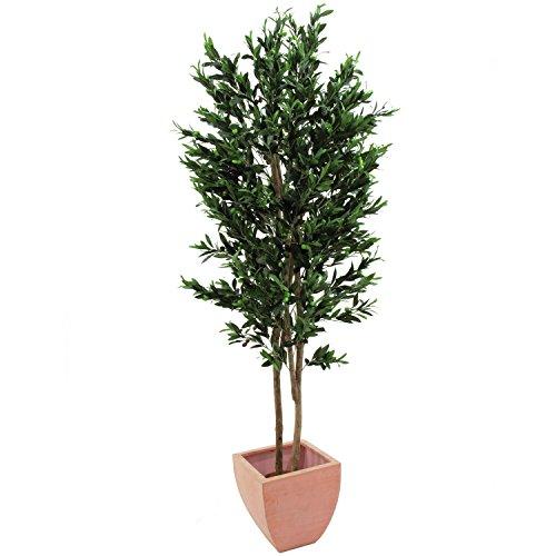 artplants – Künstlicher Olivenbaum mit 4740 Blättern, 445 Oliven, 2 Naturstämme, 250 cm – Baum mit Oliven/Kunstbaum