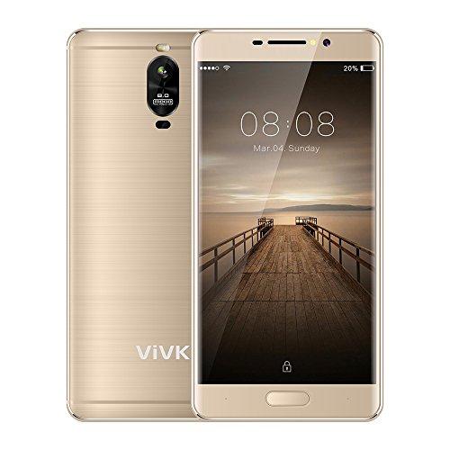 Smartphone 4G Double Sim pas cher, VIVK R2 5.5 Pouces Android 7.0 Telephone Portable Debloqué, 8MP / 5MP Real Caméras et 16Go ROM Quad Core, IPS 1280 720 HD Écran GPS, WiFi(gold)