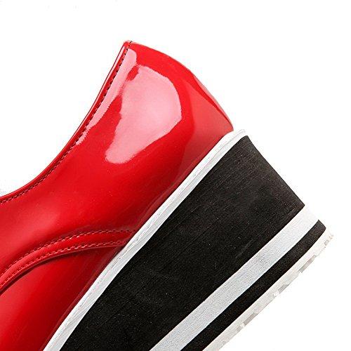 VogueZone009 Femme à Talon Correct Couleur Unie Tire Verni Rond Chaussures Légeres Rouge