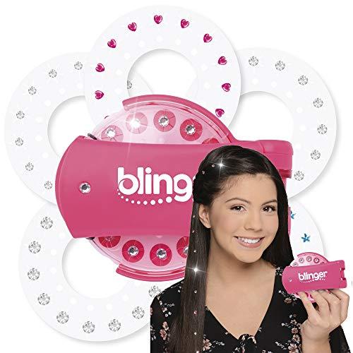 Blinger 35959 Diamond Collection Starter, Set mit 75 Schmucksteine mit pink Clip-Maschine zum Anbringen der Glitzersteine an Haaren, Kleidung und Accessoires, für Mädchen ab 6 Jahre, Mehrfarbig