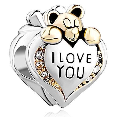 Fit pandora charms - charm in argento 925, a forma di cuore, decorato con orsetto, incisione