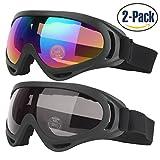 Gafas de esquí, 2-Pack gafas de patín para niños, jóvenes, chicos y chicas, hombres y mujeres, con protección UV 400, resistentes al viento, lentes anti-reflejo y aislamiento a prueba de polvo