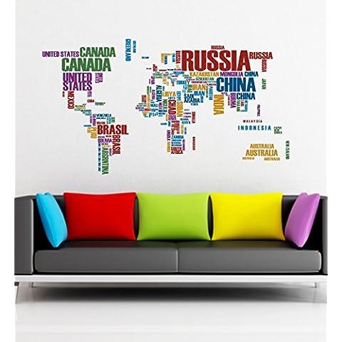 Mapa del Mundo salón adhesivo decorativo vinilo 100cm (W) X 55Cm (H), sg37