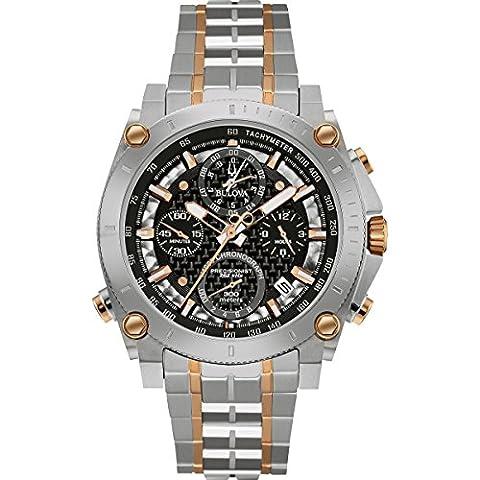 Bulova Precisionist 98G256 - Herren Designer-Armbanduhr - Chronograph mit Armband aus Edelstahl - Zweifarbig mit Roségold
