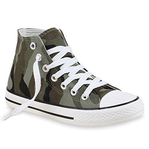 Damen Herren Unisex Sneaker High Schnürer Denim Sneakers Camouflage Sportschuhe Turnschuhe Glitzer Stoff Schuhe Übergrößen Flandell Camouflage Camouflage