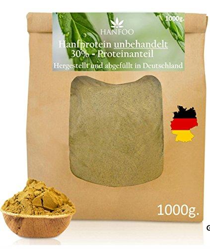 Hanfprotein-Pulver aus Deutschland 1000g. - 30% Proteinanteil - Hanfsamenprotein - Veganes Proteinpulver glutenfrei - Ideal zum Backen als glutenfreies Mehl - Geerntet in Deutschland, ohne Zusätze