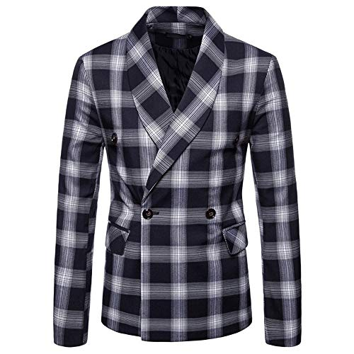 Koly tuta scozzese da uomo manica lunga autunno inverno moda top giacca con risvolto cappotto slim fit da uomo, davanti, petto, risvolto, cappotto da uomo, alla moda, uomo cappuccio