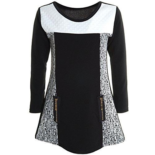 bezlit-robe-taille-empire-imprime-col-rond-manches-longues-fille-noir-6-ans