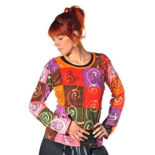 Patchwork Shirt Pullover Oberteil Sweatshirt Zip Hoodie Freizeitshirt Hippie Goa PSY Sweater Asha (Bunt, XL)