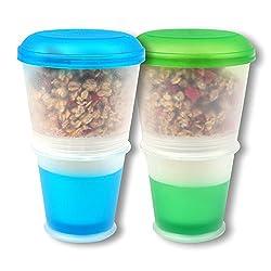 Schramm® 2er Pack Joghurtbecher to go Müsli-to-Go Müslibecher mit integriertem Kühlfach und Löffel Müslischale Joghurt Becher Müslibehälter Joghurtbehälter für unterwegs