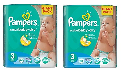 Pampers Windeln Baby Dry Midi 3 Gr. 4-9 Kg (Pampers Active Baby Gr. 3 (2 x 90 Windeln))