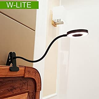 W-LITE 6W Black Led Clip on reading Light, Eye Care, 360 Degree Adjustable, Colour Temperature Changeable, Desk Light with Clamp for Book Bedside Headboard ( Not Rechargeable, Adapter not Included )