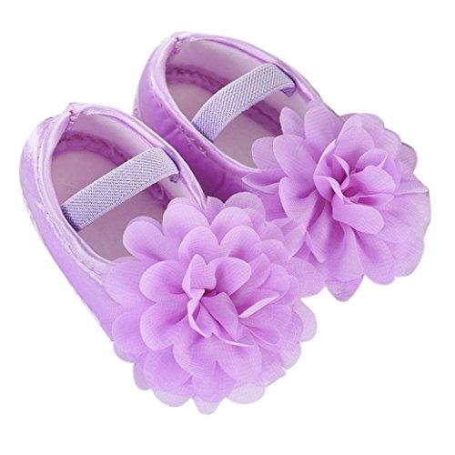 Babyschuhe BURFLY MädchenSchuhe ♥♥ 0-18 Monate Baby-Mädchen-Schuhe Chiffon- Blumen-elastische Band-neugeborene gehende Schuhe (13 CM, Lila) (Top Gummi Baumwolle Bedruckte)