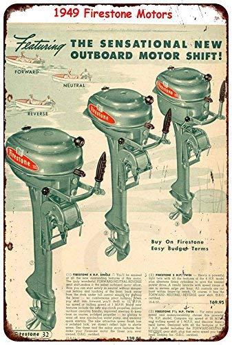 Firestone Außenbordmotoren 1949 Vintage Boot-Werbeschild Reproduktion Metallschild für Zuhause, Wanddekoration, Postschild für Damen und Herren, 20 x 30 cm