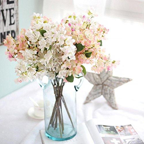 Longra Wohnaccessoires & Deko Künstliche Blumen Kunstpflanze 1PCS künstliche Blatt Kirschblüten Blumen Hochzeit Bouquet Party Dekoration Kunstblumen (D)