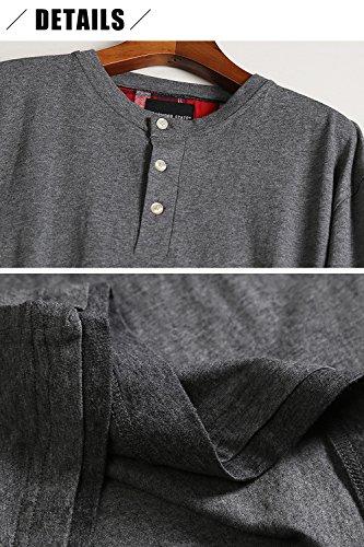 Dolamen Herren Schlafanzug Schlafanzughosen, Baumwolle Druck Lang Zweiteiliger Pyjamas Frühling, Herren Schlafanzug mit Überprüfen Sie geknöpftes Hemd Kragen mit Tasche M L XL Grau