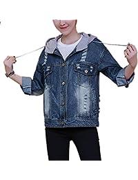 QitunC Mujer Chaquetas De Mezclilla Con Capucha Impresión Denim Jacket Roto Cazadora Vaquera Corto Aspicture M