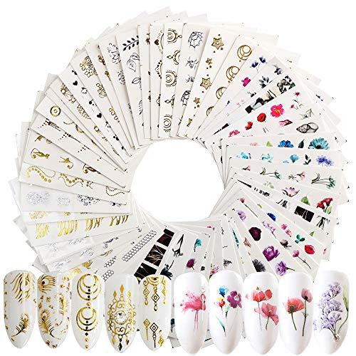 jnch 54 fogli adesivi unghie decalcomania trasferimento ad acqua 3d nail stickers water decals nails fai da te arte unghie autoadesivi nail art colore misto adesivi floreali