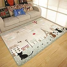 CrazySell - Alfombra antideslizante para salón con diseño de gatos y edificios, se puede lavar a máquina (130 x 185 cm)