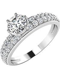 IskiUski White Gold And American Diamond Ring For Women - B075VHF6T6