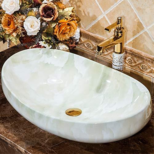 TTYY Badezimmer-Porzellan-Behälter-Wanne, über Gegenschwarzem Countertop-Schüssel-Wannen-Toilette-Eitelkeits-Kabinett-zeitgenössischer Art, 63 * 42 * 15cm L -