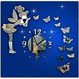 Ularma Hada de la mariposa de estilo moderno DIY espejo reloj de pared, pegatinas de pared Home Decor