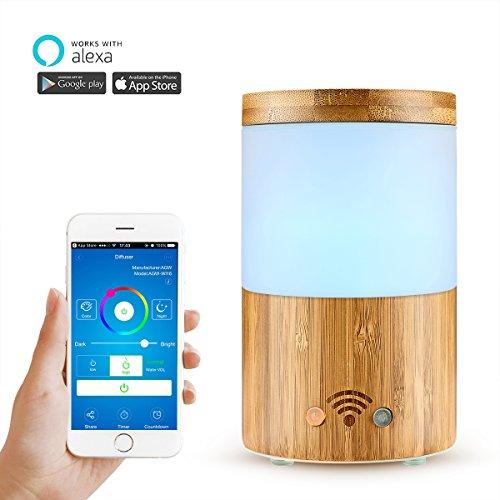 Vingtank Diffuseur d'arôme Smart de bambou et de verre moulu 4 dans 1 ultrason aromathérapie d'huile essentielle Diffuseur d'humus de brume fonctionne avec Alexa (Amazon Echo / point d'écho), APP Cont