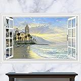 Poowef Ein Aufkleber_3D Stereo Schloss Am Meer Sonne Urlaub Landschaft Marine Bett Wand Aufkleber, 90 * 60 Cm