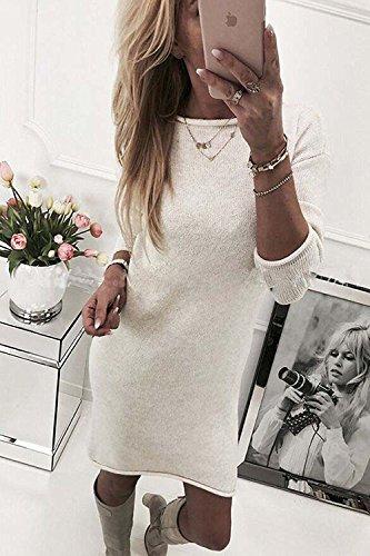 ZIOOER Damen Pulli Pullover Rock Longshirt Kleider Winterkleider Hemd Kleid Strickkleider Langarm Mode Stricksweat Strickpullover Lose Sweatkleid Minikleid Weiß
