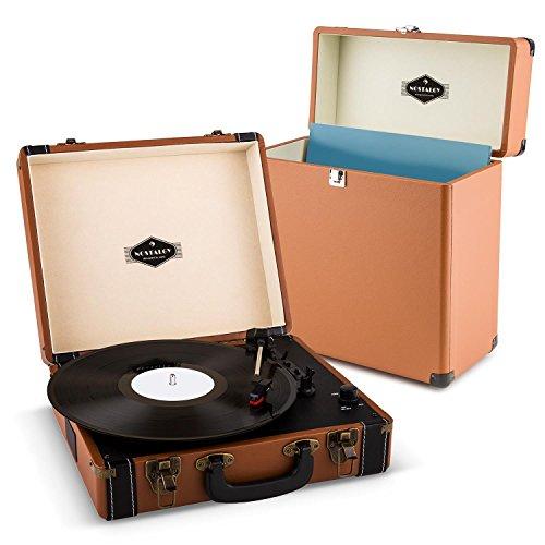 auna Jerry Lee Record Collector Set Schallplattenspieler + Plattenkoffer (USB-Anschluss zum Digitalisieren, 2 Lautsprecher, Tragegriff, Platz für 30 LP, Retro Design) braun
