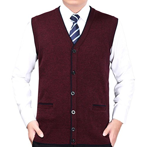 Zhhlinyuan gute Qualität Mens Men's Father Business Winter Button Down Sleeveless V-neck Pullover Knitted Jumper Vest Waistcoat Weste Gilet Cardigans Tops (Sweater Black V-neck Sleeveless Knit)