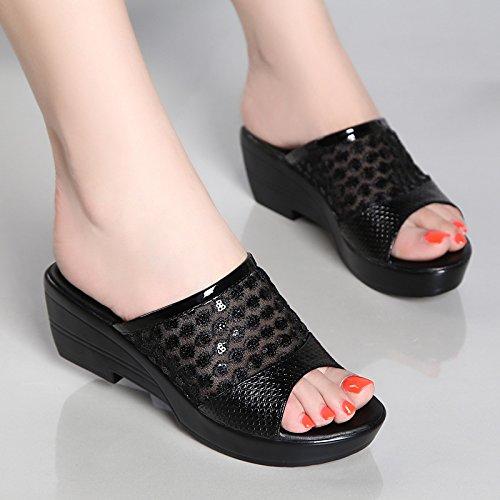 GTVERNH-4.5cm nero con le pantofole donna summer spesso con la madre scarpe impermeabili piattaforma spessa basso pendio con sandali femminili,42 Forty-one