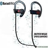 Casque Bluetooth avec Micro Sport sans Fil à Technologie Supprimant le Bruit & Résistant même à la Transpiration Reste en Place à l'Oreille quand vous Courez par PHI Sports & Outdoors Casque Stéréo à Oreillettes pour le Sport Appréciez Encore plus