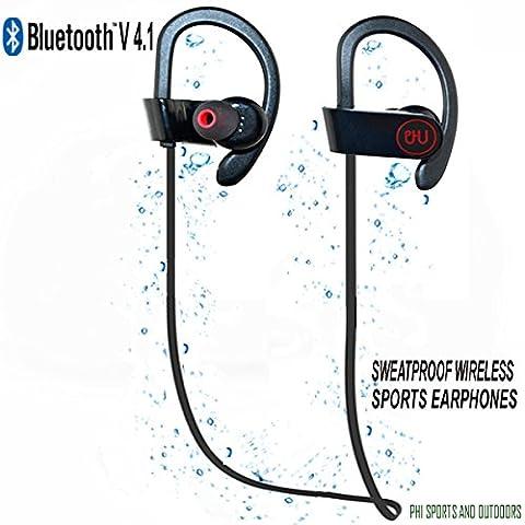 Casque Bluetooth avec Micro Sport sans Fil à Technologie Supprimant le Bruit & Résistant même à la Transpiration Reste en Place à l'Oreille quand vous Courez par PHI Sports & Outdoors Casque Stéréo à Oreillettes pour le Sport Appréciez Encore plus vos Séances d'Entraînements mallette de transport inclus