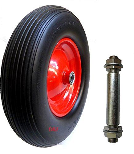 PU Schubkarrenrad 4.80/4.00-8 Reifen für Schubkarre Vollgummi mit Achse Pu-4