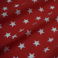 Red Polycotton Fabric with White Stars (Per Metre)