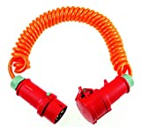 as - Schwabe CEE Baustellen-Spiralkabel 5 m auf ausziehbar, 1 Stück, orange, 70419